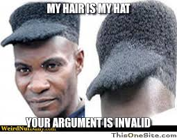 Black Hair Meme - my hair is my hat this one site