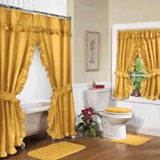 Yellow Ruffle Curtains by White Floral Lace Curtain Black Tile Bathub Wall Dark Grey