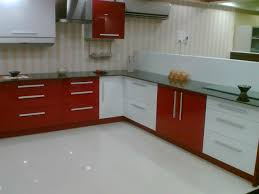 Coloured Kitchen Cabinets Good Looking Modular Kitchen With L Shape With White Orange Colors