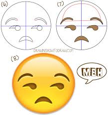 how to draw unamused emoji face or meh face with easy drawing
