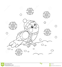 coloring page outline of a funny bird in winter stock vector