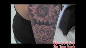 American Flag Tattoos Black And Grey Completed 1 4 Sleeve With Flowers Wylde Sydes Tattoo Youtube