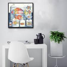 Minimalist Modern Cartoon Colour Fish Glass Jar Abstract Art Canvas Poster Painting