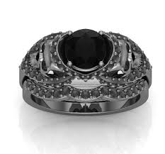 skull wedding ring sets gun metal solid gold skull engagement ring set temple of the