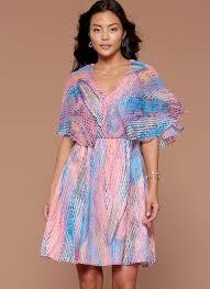 flutter style dress m7566 misses v neck ruffle and cape style flutter sleeve dresses