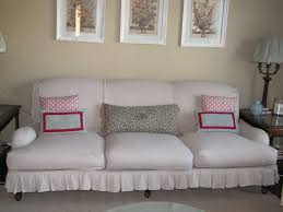 White Slipcover Couch Living Room Classic White Slipcover Sofa Complete With Pink And