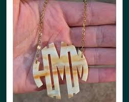 monogram necklace acrylic acrylic monogram necklace etsy
