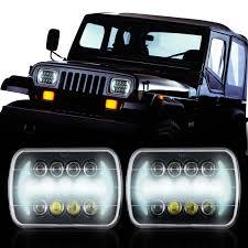 stock jeep headlights 7 6 5 7 h6054 200mm led projector w drl headlight black genssi led