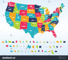 50 States Map With Capitals by Colorful Usa Map States Capital Cities Stock Vector 258152768