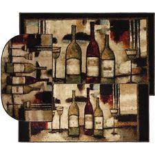 kitchen rugs clearance wine rug set 3 pcs accent bottles glasses