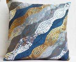 blue throw pillows with silver copper sequins silver pillow