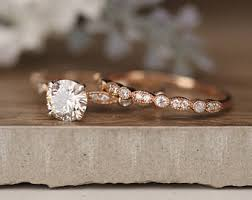 promise ring engagement ring wedding ring set gold engagement ring etsy