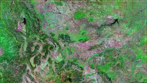 Montana County Map by Montana Satellite Images Landsat Color Image