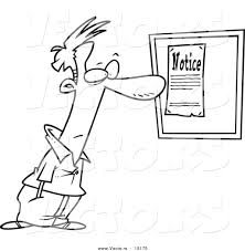 vector of a cartoon man reading a notice coloring page outline