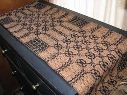 Colonial Coverlets Primitive Black And Mustard Woven Coverlet Table Runner 56