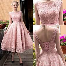 lace dresses glamorous tea length lace prom dresses 2016 pink cap