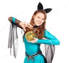 teen wearing halloween bat costume u2014 stock photo