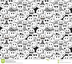 doodle emoticon seamless black and white doodle pattern with positive emoticon