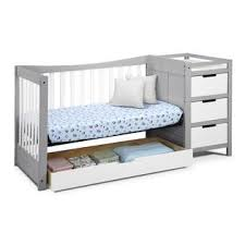White Crib With Changing Table Graco Remi 4 In 1 Convertible Crib And Changer Pebble Gray White
