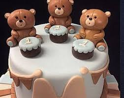 teddy bear cake topper baby shower gumpaste figurine keepsake