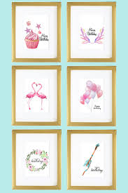 free printable watercolor birthday cards flamingo balloons