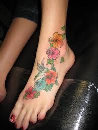 Flower Tattoo Designs On Feet - hawaiian flower tattoos for girls design on foot and back body