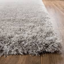 Modern Area Rug Shimmer Shag Silver Grey Solid Modern Luster Ultra Thick Soft