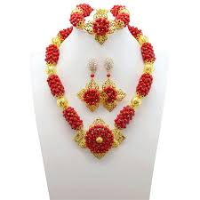 red gold jewelry necklace images Real crystal bridal beads jewelry set indian wedding red necklace jpg