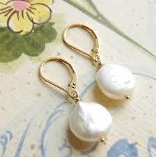 14kt gold earrings pearl earrings 14kt gold filled lever back