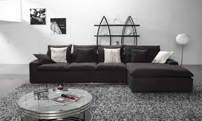 Black Fabric Sofa Sets L Shape Black Fabric Sofa With Four Seat Also Cushions Plus Round