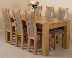 kuba solid oak dining table u0026 6 stanford solid oak fabric chairs