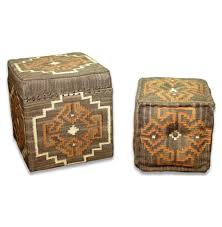 Orange Storage Ottoman with Lyons Bend Rustic Brown U0026 Orange Kilim Storage Ottoman With Stool