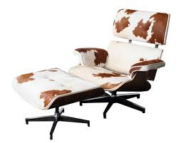 furniture eames lounge chair replica and ottoman cow hide for