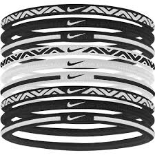 elastic hair bands nike elastic hairbands 2 0 pack of 9 black white fitnessnuts