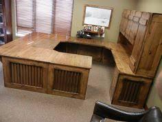Rustic Office Desk Custom Reception Desk Reclaimed Wood Steel Work Station U