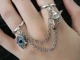 fashion hand rings images Hamsa hand double ring hamsa hand genie lamp charm slave ring jpg