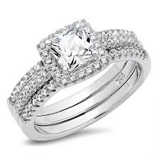 sterling engagement rings images 925 sterling silver cushion cubic zirconia cz 2pc halo wedding jpg