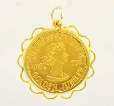 golden jubilee diamond size comparison 9carat yellow gold u0027golden jubilee u0027 coin in mount pendant 29mm