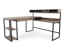 multi tiered l shaped desk new sauder l shaped desk with 61 casual in salt oak mathis brothers