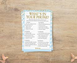 what u0027s in your phone blue baby shower game whats on your