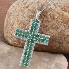 brazilian emerald white topaz platinum over sterling silver cross