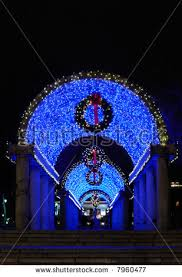 Christmas Decorations Light Blue by Blue Lights Christmas Decorations Christopher Columbus Stock Photo