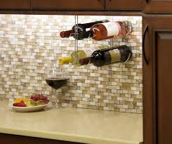 kitchen cabinet wine rack ideas storage kitchen cabinets and mosaic tile backsplash with metal wine