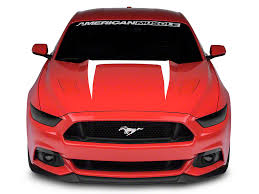 Black Mustang With Red Stripes American Muscle Graphics Mustang Hood Graphic Decal White 386374