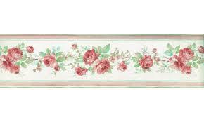 Chair Rail Wallpaper Border - pink floral roses wallpaper border