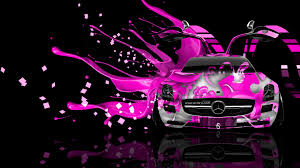 pink mercedes mercedes sls amg open doors front live colors car 2014 el tony