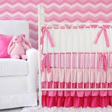 Pink Chevron Crib Bedding Girly Zig Zag Ruffle Crib Bedding Set By Caden