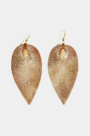 images of earrings in gold zia metallic leather leaf earring fair trade siver metallic