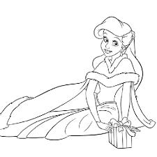 Coloriage Princesse Ariel Et Son Cadeau  Coloriage Princesse Disney