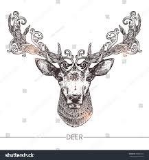 ornamental deer highly detailed stock vector 358089212
